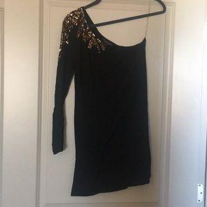 Black one shoulder mini dress with sequins